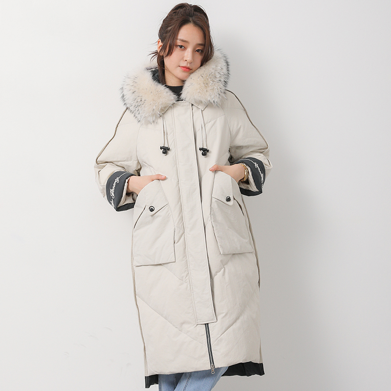 Thick Winter White Duck   Down   Jacket Women Large Fur Collar Long Outerwear Female Parkas 2019 New Oversized Women's   Down     Coat