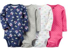 YL] 4pcs Pack of Fashion Children Bodysuits for Baby Boy and Girl Long Sleeve Jumpsuit for Baby at 3 months to 24 monthes BEBES