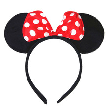 Kids'Black Minnie Mouse Ears Headbands Handmade Dots Hair Bow Hairbands Hair Hoop Cute Girls' Photography Props Hair Accessories цена