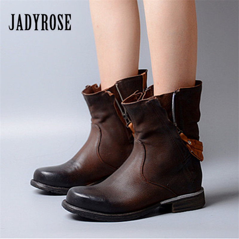 Jady Rose Double Zipper Ankle Boots for Women Back Strap Martin Boots Genuine Leather Autumn Winter Female Platform Flat Boots jady rose vintage flat ankle boots for women side zipper straps genuine leather short botas female platform martin boots