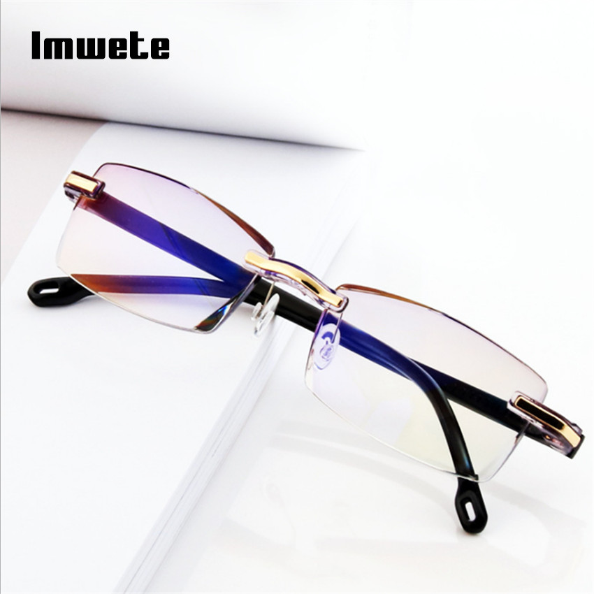 Imwete Reading Glasses Light-Blocking Rimless Presbyopia Blue Women Transparent