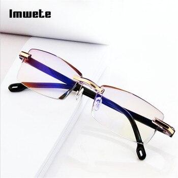 Imwete Rimless Reading Glasses Women Men Transparent Blue Light Blocking Frameless Computer Glasses Presbyopia Reader 1.0 1.5