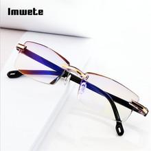 Imwete Rimless okulary do czytania kobiety mężczyźni przezroczysty niebieski światło blokowanie bezramowe okulary komputerowe czytnik prezbiopii 1 0 1 5 tanie tanio Unisex Antyrefleksyjną Poliwęglan Z tworzywa sztucznego 5 3cm 1 0 1 5 2 0 2 5 3 0 3 5 4 0