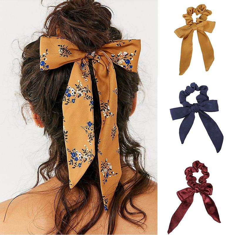 AWAYT Women's Satin Bow Scrunchie Fashion Hair Bands Streamer Horsetail Streamers Women Hair Tie Solid   Headwear   Hair Accessories