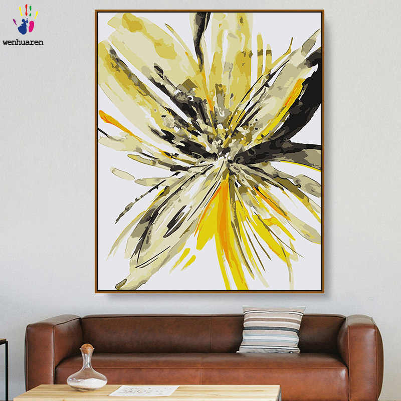DIY colorings pictures by numbers with colors Freehand lily flower watercolor picture drawing painting by numbers framed Home