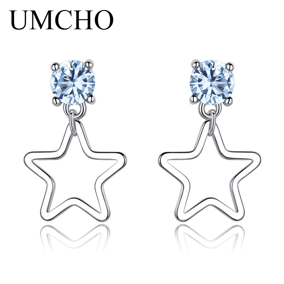 UMCHO Real 925 Sterling Silver Drop Earrings For Women Fashion Star Earrings Blue Topaz Gemstone Party Christmas Gift  For Girl