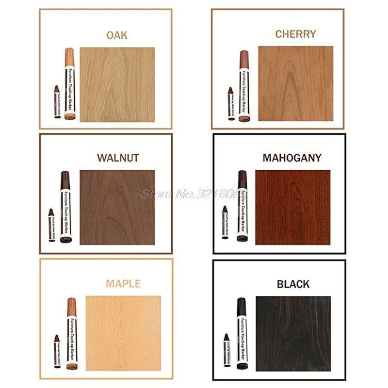 6pcs/1 Set Wood Repair System Kit Filler Sticks Touch Up Marker Floor Furniture Scratch Fix