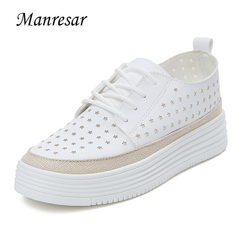 Manresar 2017 New Arrival Fashion Lace-up Women Zapatos Mujer Women Patent PU Leather Pointed Toe Female Footwear Creepers Shoes