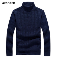 2018 New Autumn Winter Fashion Brand Turtleneck Sweater Mens Pullover Slim Solid Warm Jumpers Knitred Sueter Hombre Clothes 5XL
