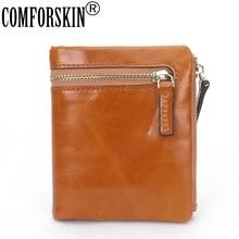 COMFORSKIN Carteira Feminina гарантированный женский кошелек из натуральной вощеной кожи с маслом брендовый Модный женский кошелек Carteras