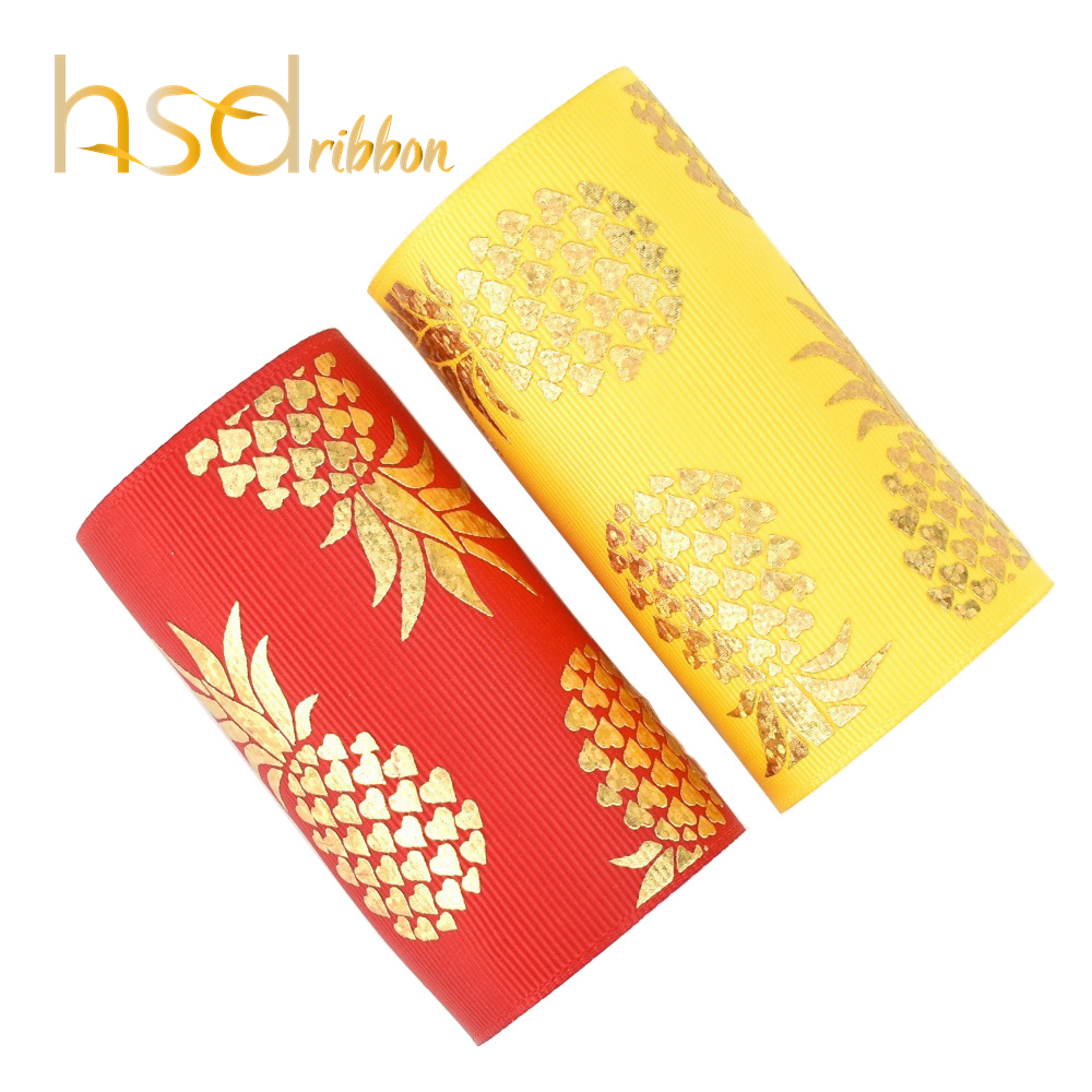HSDRibbon 75mm 3inch gold laser foil pineapple on Solid Red and Yellow Grosgrain Ribbon