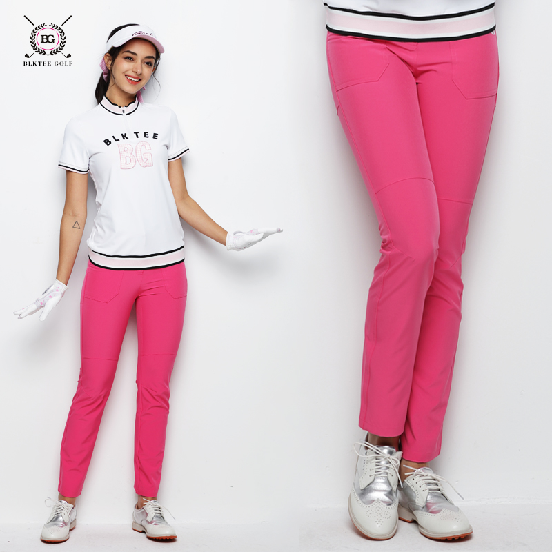 New golf pants women sports summer golf trousers spring slim elastic top fabric lady golf match apparel breathable pants 3 color colorful brand large size jeans xl 5xl 2017 spring and summer new hole jeans nine pants high waist was thin slim pants