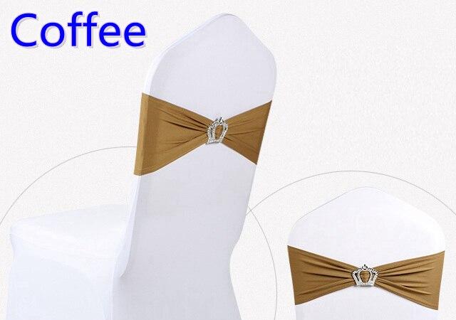 Кофе изделие Корона пряжки лайкра створки для свадьбы стулья украшения спандекс Группа стрейч галстук-бабочка лайкра лента ремня распрода...