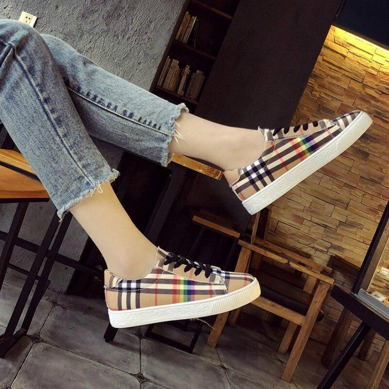 Las Encaje Coreana Libre Tenis Moda 2018 Rainbow De Primavera Aire Casual Zapatos Mujeres Color Plaid Feminino Señoras Hasta Al Calientes Pisos wBwqxWZXUp