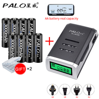 PALO 8pcs AA 3000mah NI MH 1.2V rechargeable batteries aa battery battery rechargeable battery with aa LCD dispay batterycharger