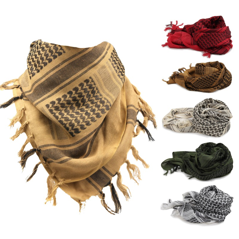 Kaffiyeh Headscarf  Thick Cotton Blend Outdoor Arab Sunshade Warm Shawl Cap Climbing Outdoor Sportswear Accessories Pro Bandana