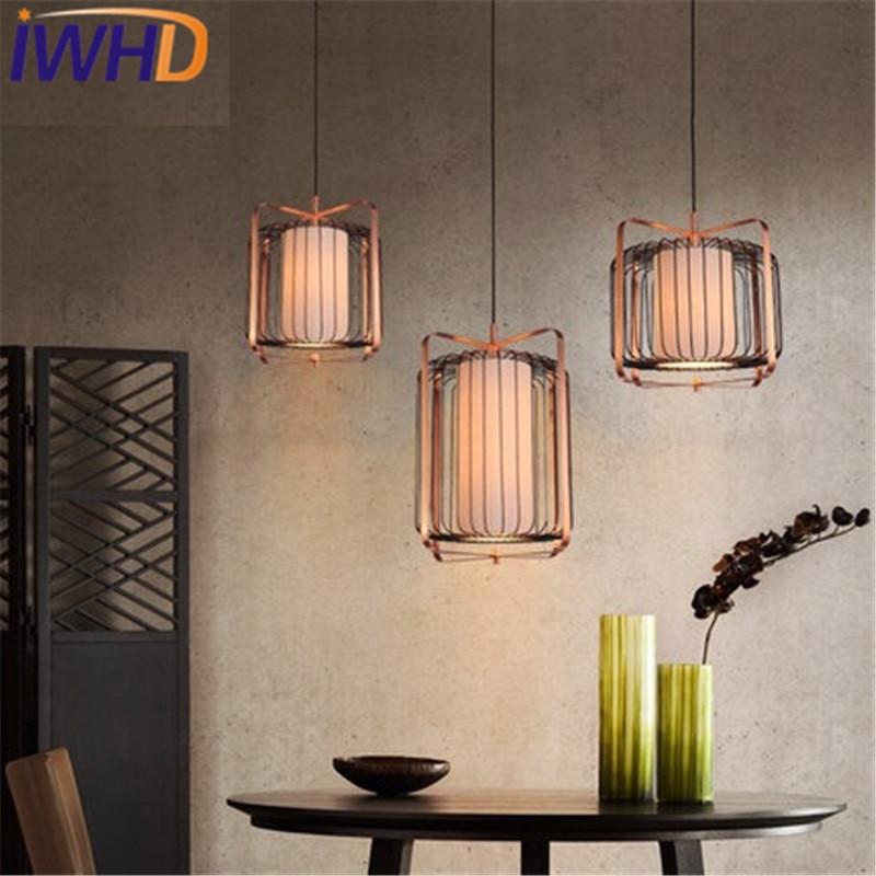 IWHD シンプルな木製布つりランプ現代の Led ペンダントライト器具リビングダイニングルーム鉄ぶら下げランプ屋内照明 -