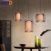 Iwhd простой деревянной ткань Droplight современный led подвесные светильники для жизни Обеденная железа подвесной светильник Освещение в помещен