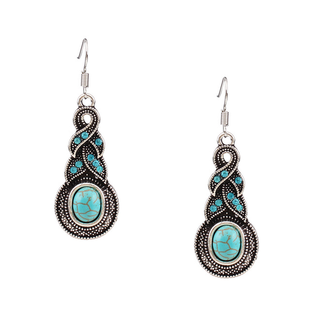Top Sale Women turquoise Necklace silver plated with earrings jewelry sets for women party gift chokers statement neckalces sets