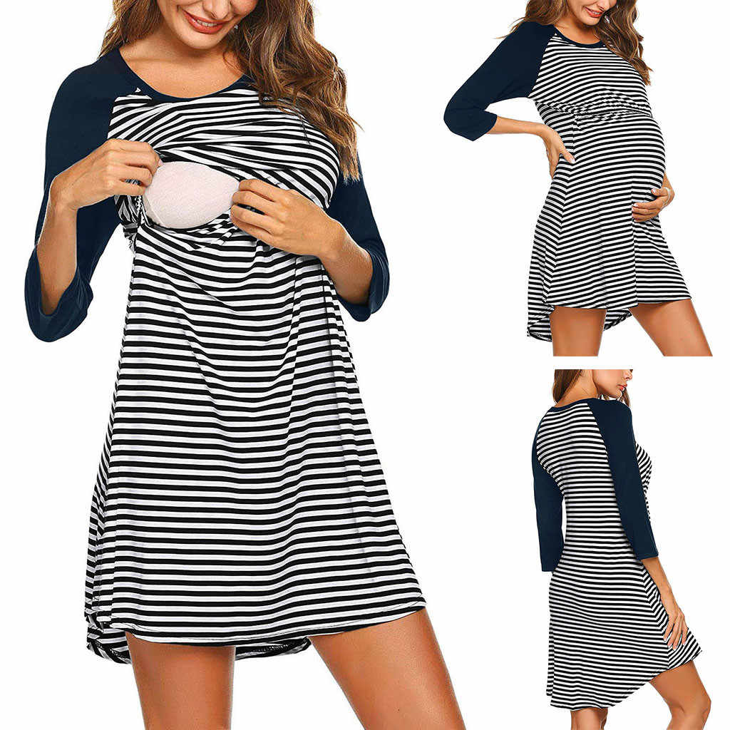 ecc35f742b Women s Maternity Striped Dress Nursing Nightgown Breastfeeding Sleepwear  breastfeeding dress new schwangerschaftsmode