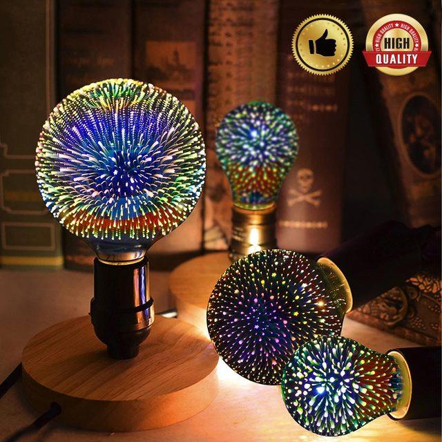 3D фестиваль лампа 6 W E27 светодиодный свет Творческий красочные лампа G125 фейерверк света для кафе-бар свадьба праздник Рождественский Декор ...