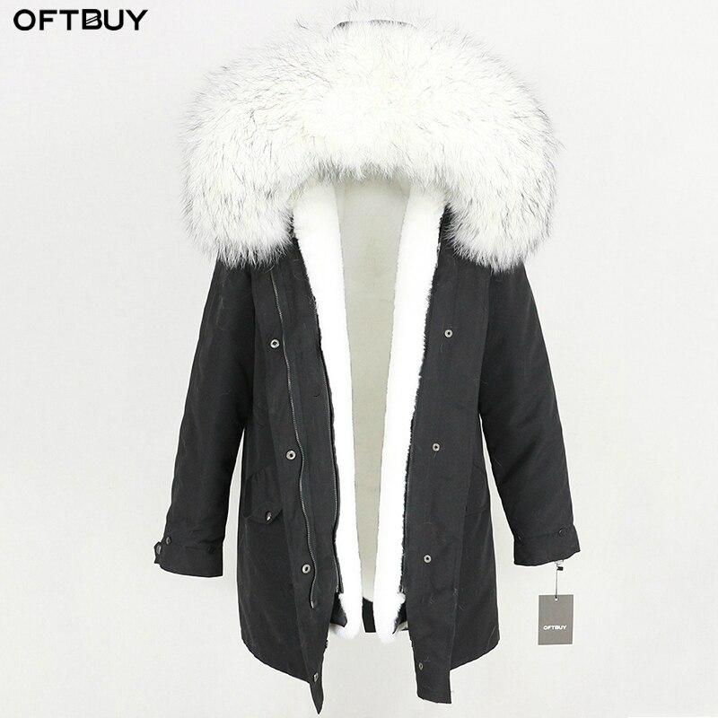 2019 Waterproof Long Parka Winter Jacket Women Real Fur Coat Natural Raccoon Fur Trim Hood Faux
