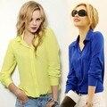 Mulheres Blusas de Venda Direta Frete Grátis Botão Sólidos 2014 Outono Nova da Longo-luva Shirt Fêmea Chiffon Fino das Mulheres roupas