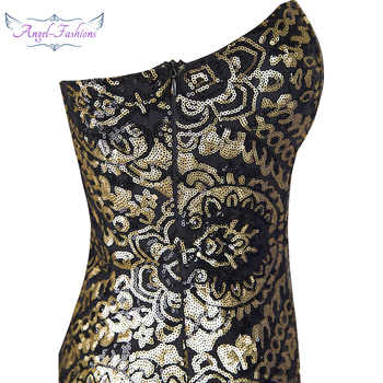 Angel-fashions Embroidery Vintage Sequin Gatsby 20\'S Gold Flapper Evening Dress 042