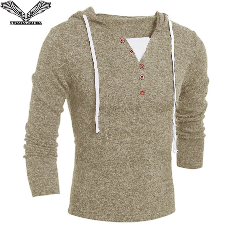 Visada Jauna Spring Autumn Casual Mens Sweater V-neck Button Fashion Knitting Sweaters Hooded Slim Fit  Men's Sweater N8907