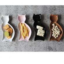 Creative ceramic plate dish cartoon cat disk lovely kids dish fruit plate salad plate home decoration 20*9.7cm