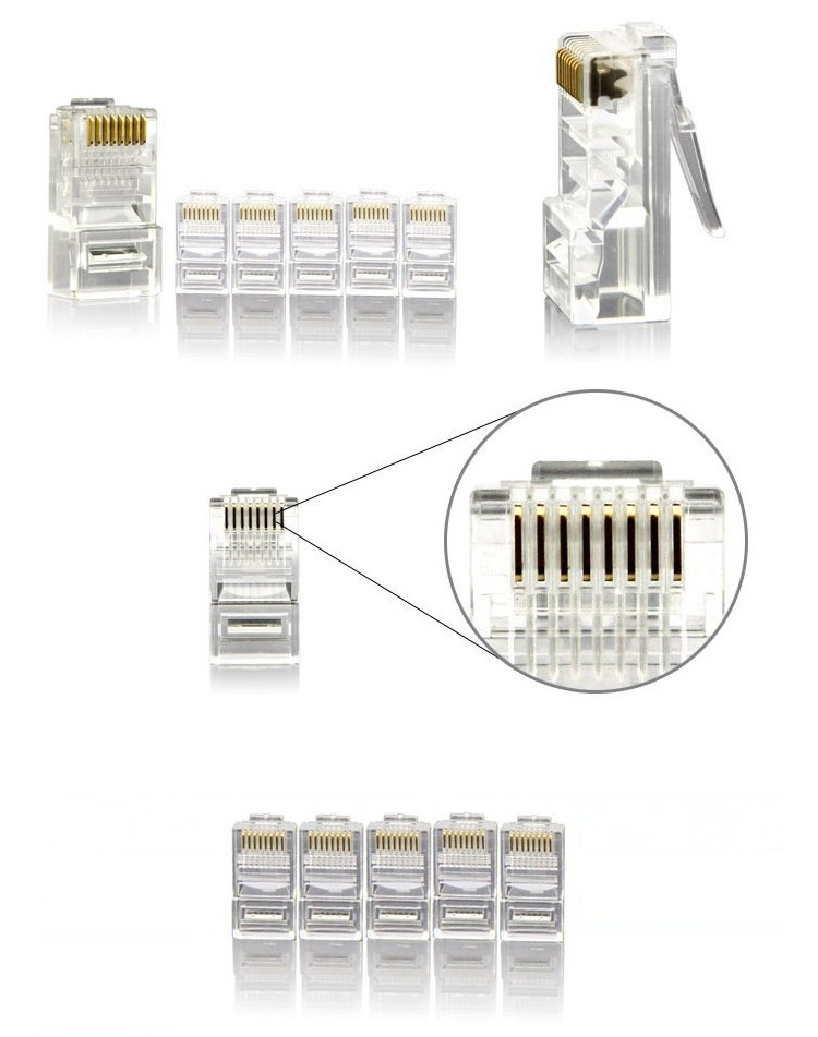 AMP 100PCS/LOT Crystal RJ45 Plug Cat5E Cat5 Rj-45 Lan Network Head Adapter