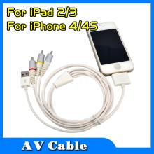 Hot 1.2m USB 2.0 Dock Connector to TV RCA Video Component AV Cable Adapter For iPod For iPhone 4/4S