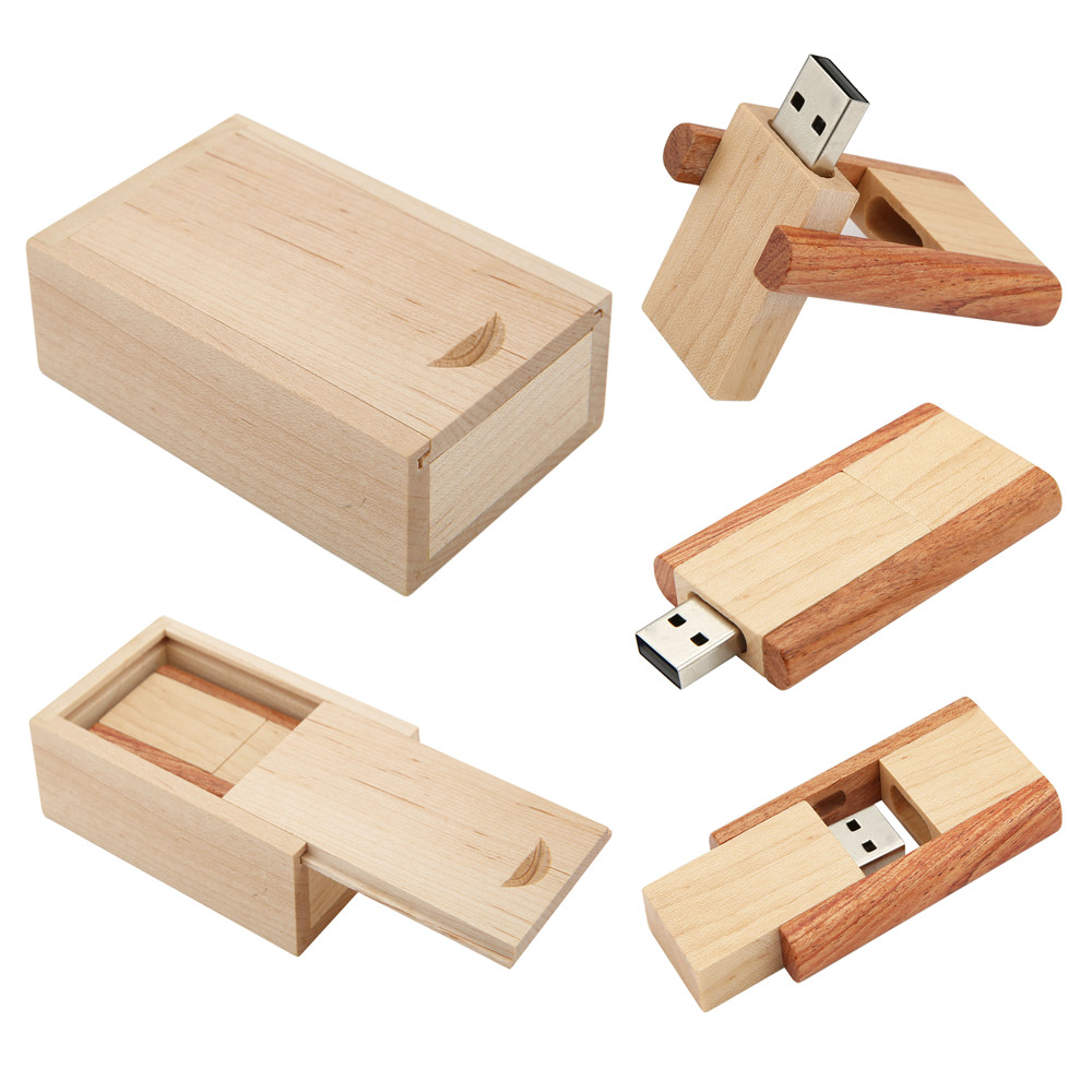 Wooden Clip Usb Flash Drive Natural Wood With Box Pendrives 4gb Flashdisk Stainless 8gb 16gb 32gb Memory Stick Creativo Logo Customize