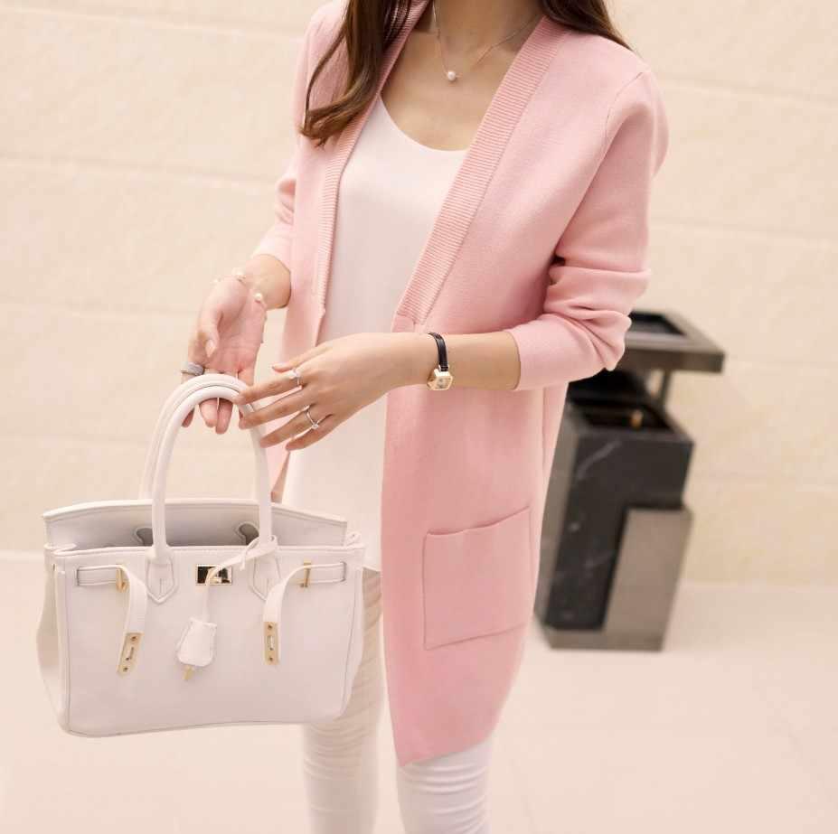 2019 новые высококачественные женские демисезонные средней длинный кардиган новый женский элегантный карман вязаная верхняя одежда, свитер накидка Топ