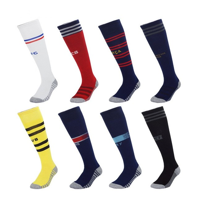 Adultos niños deportes profesionales de fútbol calcetines Europa Club de fútbol calcetín transpirable alta rodilla elástico largo de calcetines