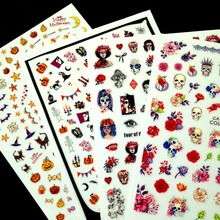 Newest CA-342 halloween pattern 3d nail sticker self-adhesive decal decoration design wraps