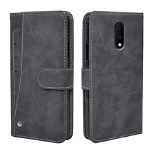 Luxury Vintage Case For OnePlus 7 Case Flip Leather Silicone Wallet Cover For OnePlus 7 Pro Soft TPU With Front Card Solts