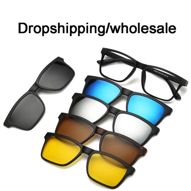 Dropshipping/wholesale 5+1 suit Fashion Clip On Sunglasses Magnetic Sunglasses