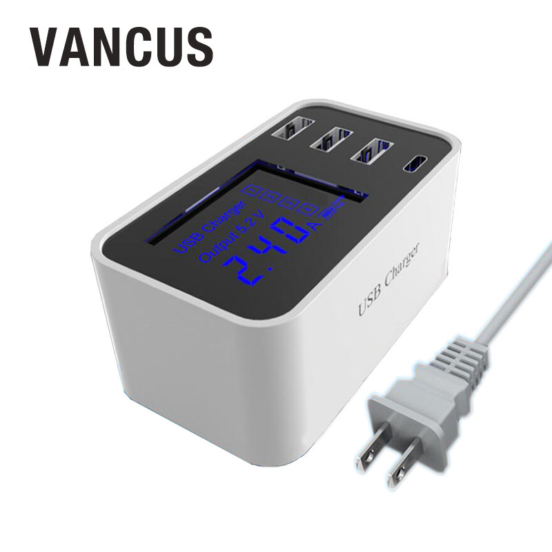 VANCUS 5V 3.5A 3 USB + Type-c Ports Multi-port Smart Charger Led Display Power Adapter Socket For Mobile Phone Universal