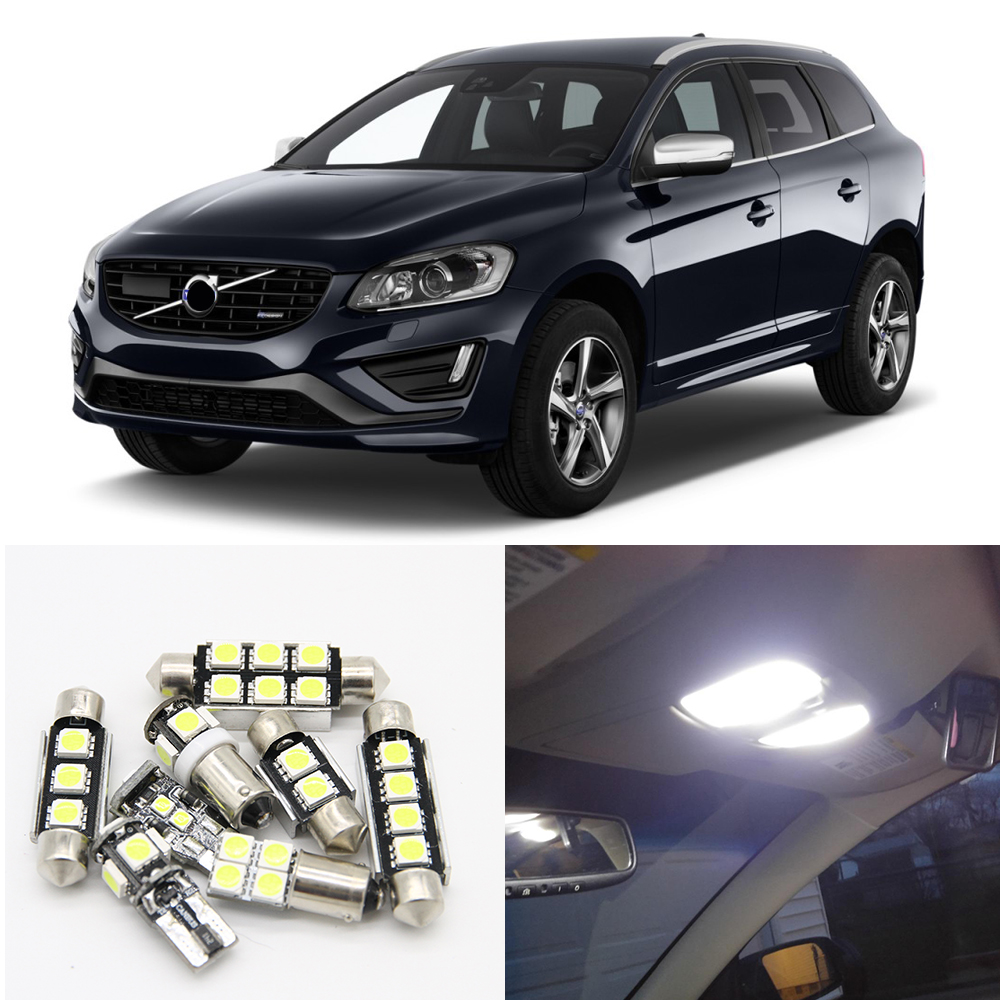 14x White No Error Auto LED Light Bulbs Interior Package Kit For 2009-2015 Volvo XC60 Canbus Map Dome Trunk Door Glove Box Lamp 2pcs 12v 31mm 36mm 39mm 41mm canbus led auto festoon light error free interior doom lamp car styling for volvo bmw audi benz