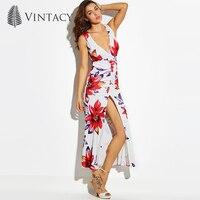 Vintacy Sexy Beach Long Dress Women Hot Deep V Pleated Stretch High Split Maxi Dresses White