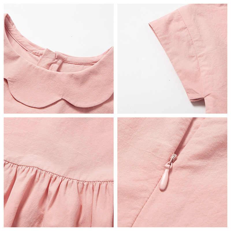 MinibalabalaGirls כותנה שמלת 2019 קיץ חדש ילדי כותנה שמלות דק נסיכת שמלת אופנה ילד בגדים