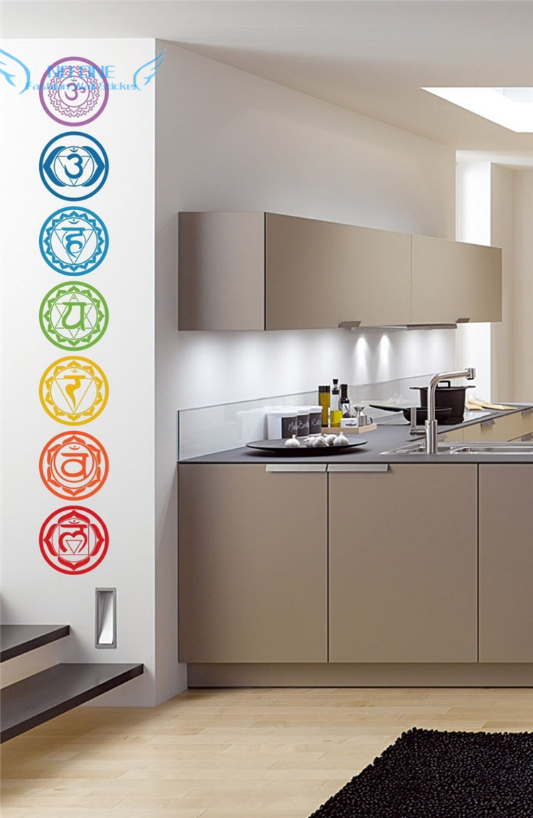 free shipping 7pcs/set Chakras Vinyl Wall Stickers Mandala Yoga Om - Home Decor - Photo 3
