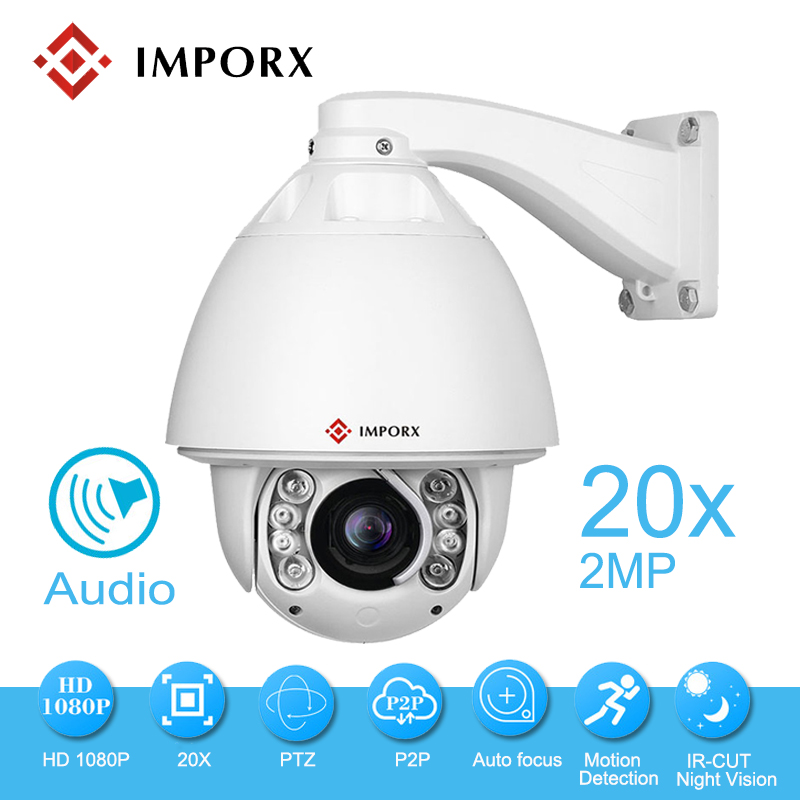 FULL HD 1080 P Auto Tracking PTZ Câmera IP Áudio 2 M 20X Zoom Óptico Da Câmera IP Onvif CCTV Segurança câmera de Visão Noturna infravermelha