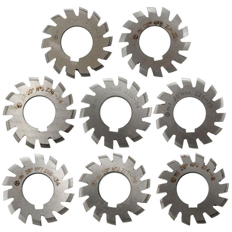 8pcs New M1 PA20 20 Degree HSS Involute Gear Cutters Set #1-8 Assortment Kit For Power Tool  цены