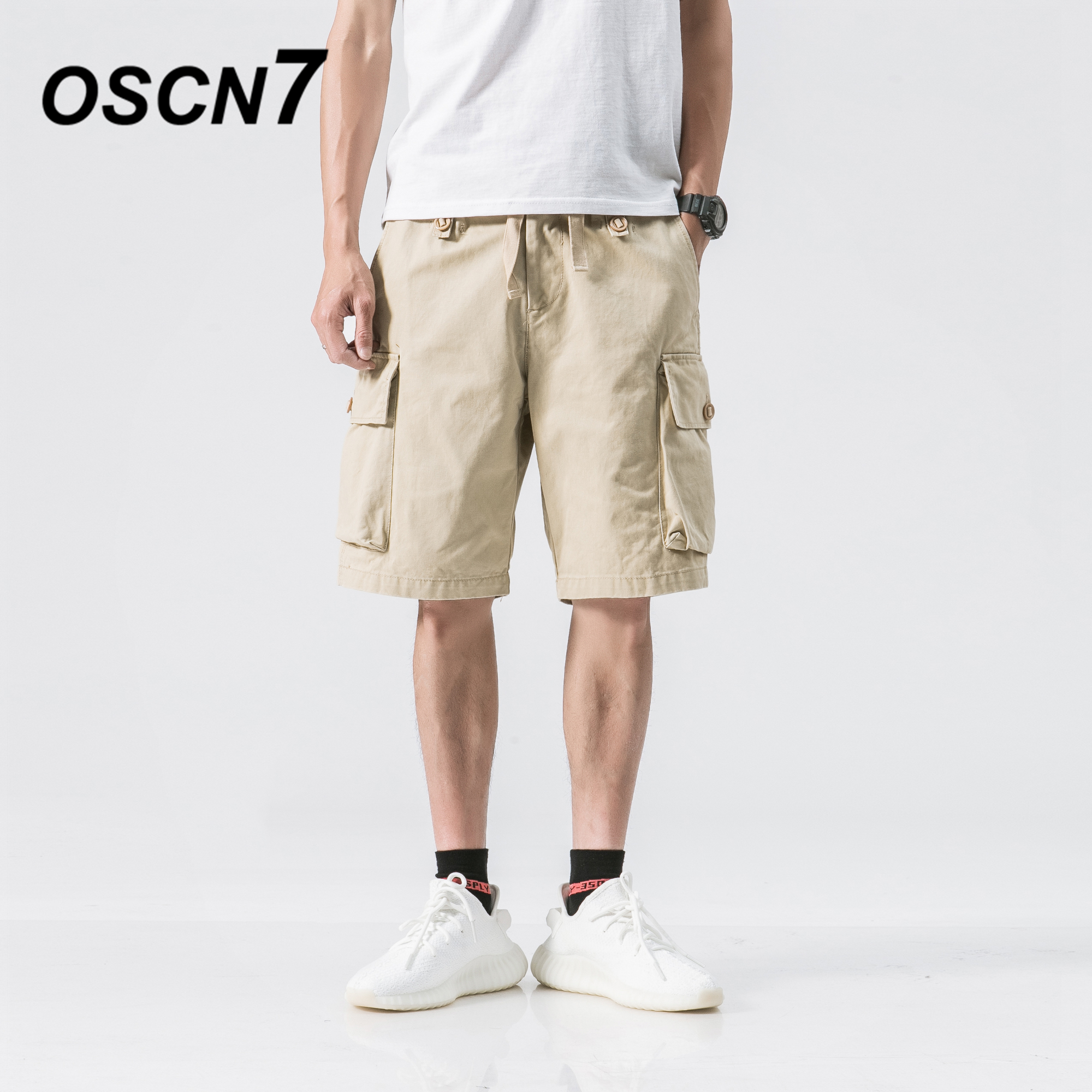 OSCN7 Fashion Casual Cargo Shorts Men Plus Size Leisure Solid Shorts Men Cargo 2018 New Mens Short Pants M259
