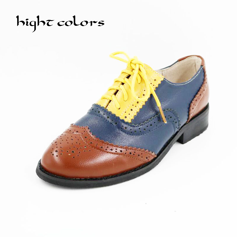 2018 British Ancient Ways Round Head Spell Color Black White Lace-up Oxford Shoes For Women Scarpe Oxford Chaussures Oxford люстра crystal lux fontain sp8