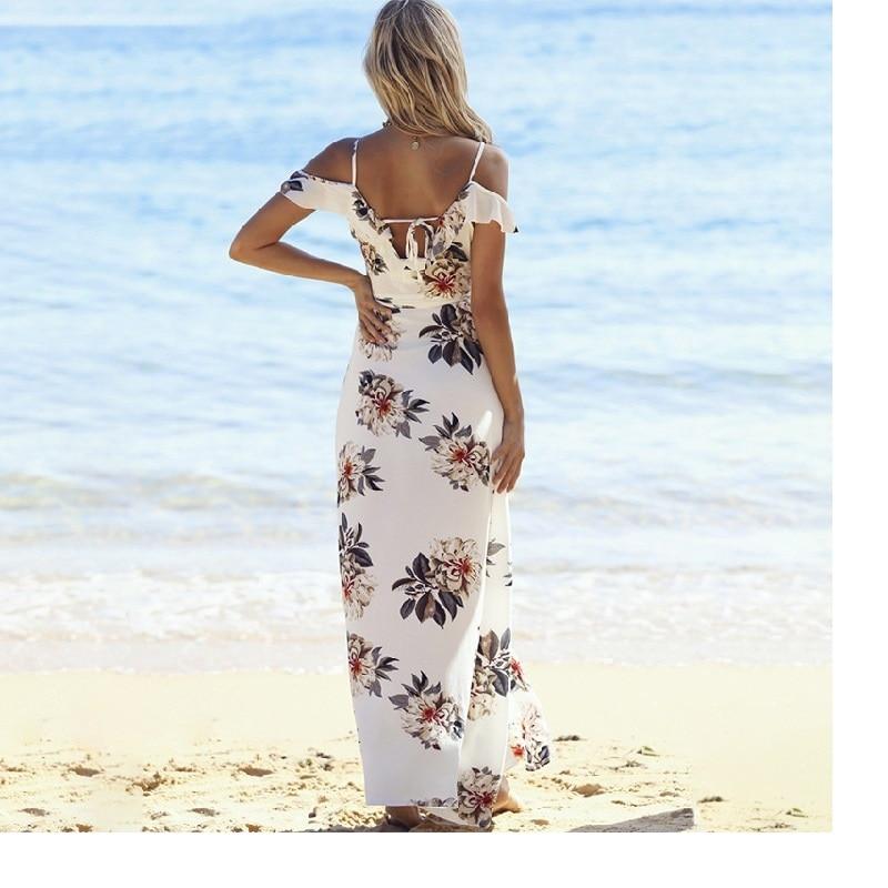 Off Shoulder Floral Chiffon Beach Dress