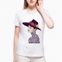 Audrey Hepburn Letter Design Summer Brand T Shirt Women Vintage Women O Neck Short Sleeve Kawaii