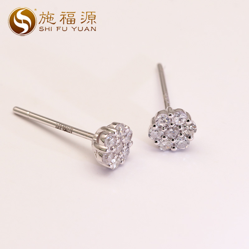 High quality 18k White Gold 0.287CT Certified Real Diamond Stud Earrings for Women Engagement fine Jewelry starry pattern gold plated alloy rhinestone stud earrings for women pink pair